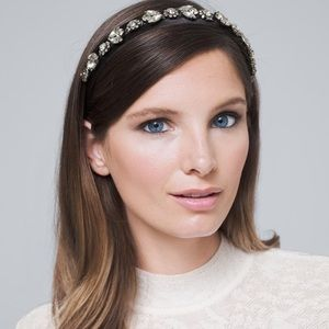 WHBM Bejeweled Satin Headband Stunning! NWT